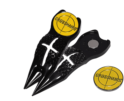 Image of the patented CROSSHAIRS Classic 5 IN 1 golf divot repair tool.